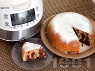 Рецепта Кекс в два цвята с орехи, какао, лимонови кори и локум в Делимано Мултикукър